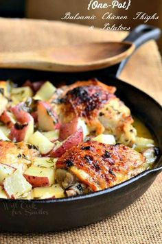 (One-Pot) Balsamic Chicken Thighs & Potatoes. Wonderfully flavorful and easy chicken dinner! Juicy chicken thighs marinated in slightly sweet, white balsamic marinade, seared and baked with red potatoes to a golden perfection.    from willcookforsmiles.com Turkey Recipes, Chicken Recipes, Dinner Recipes, Baked Chicken, Chicken Potatoes, Roast Chicken, One Pot Meals, Easy Meals, Balsamic Chicken Thighs