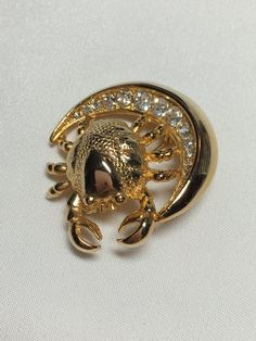 Vintage Rhinestone Moon and Crab Gold by HappyHenVintageGems
