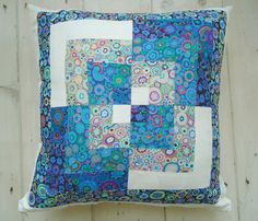 blue quarters patchwork cushion