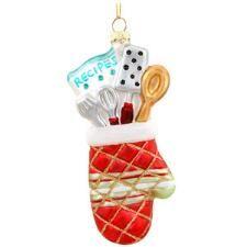 Oven Mitt With Utensils Glass Ornament