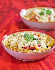 A beautiful spring pasta made with malfadine pasta, peppers, feta and more!!