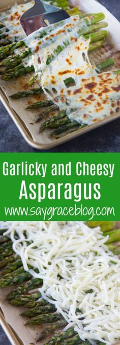 This Garlicky and Cheesy Asparagus recipe is made with just a few simple ingredients and makes a perfectly delicious side dish for any meal! Veggie Dishes, Vegetable Recipes, Beef Recipes, Side Dishes, Cooking Recipes, Healthy Recipes, Recipies, Healthy Asparagus Recipes, Yummy Recipes
