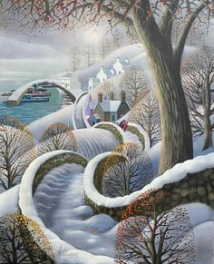 Winter Scene ~ Naive Art by George Callaghan . Landscape Artwork, Cool Landscapes, Abstract Landscape, Fantasy Landscape, Contemporary Landscape, Painting Abstract, Landscape Photos, Landscape Design, Landscape Photography
