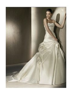 Satin Softly Curved Strapless Neckline A-Line Wedding Dress with Beaded Appliqued Bust - Bridal Gowns - RainingBlossoms
