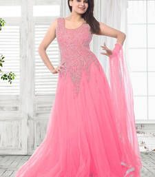 Buy light pink net embroidered semi stitiched party wear gown with dupatta party-wear-gown online