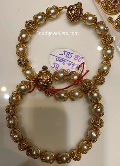 28 Grams antique nakshi balls and pearl bangles photo Gold Bangles Design, Gold Earrings Designs, Gold Jewellery Design, Gold Temple Jewellery, Gold Bridal Earrings, Gold Jewelry Simple, Balls, Antique, Indian Gold Bangles