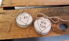 Wood Ring Pillow Set, I DO, ME TO, Pocket Size, Aspen Tree Slice, Rustic Elegance, Personalized Ring Bearer, Keepsake Ornament