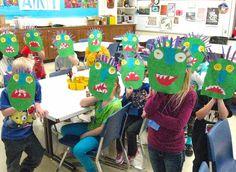 Kindergarten Art - Go Away Big Green Monster Puppet