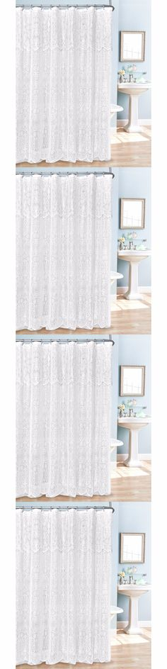 Shower Curtains 20441: Social Shower Curtain Fabric With Liner Rings  Textured White Lace Country Chic