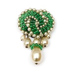 Rousselet Green and Pearl Drop Brooch | Carole Tanenbaum Vintage Collection