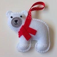Christmas Polar Bear Felt Hanging Decoration, Ornament