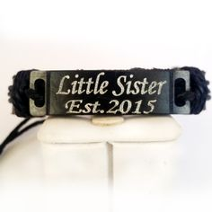 Name Bracelet , Leather Bracelet, Personalized Bracelet, Custom Bar Bracelet, Custom ID Bracelet, Customized Bracelet in Black , Adjustable by newyorkcustomermake on Etsy