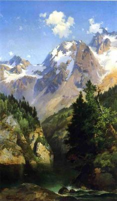 A Rocky Mountain Peak, Idaho Territory, 1882 Moran, Thomas Painting Reproductions Watercolor Landscape, Landscape Art, Landscape Paintings, Landscapes, Oil Paintings, Rocky Mountains, Thomas Moran, Hudson River School, Oil Painting Techniques