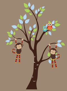 Zoo Forest Wall Decals Monkey Owl Tree Wall by NurseryDecals4You.  https://www.etsy.com/listing/268245885/zoo-forest-wall-decals-monkey-owl-tree?ref=shop_home_active_63 $139.95