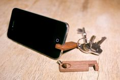 Wooden iPhone Stand Keyring by OakAndAwl on Etsy