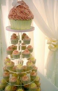 gorgeous dusty rose cupcake tower