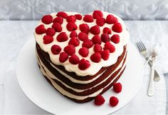 """Berry Heart Cake -  Say """"I love you"""" with this gorgeous heart-shaped cake."""
