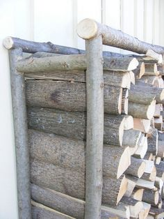firewood storage with home hame racks showing the end ladder