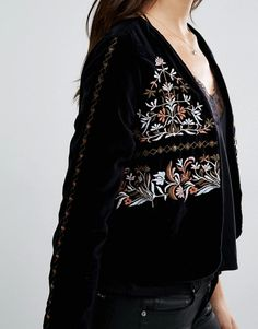 Vero Moda | Vero Moda Velvet Embroidered Jacket at ASOS