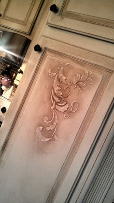 A combination of Royal Design Studio Scroll stencils on kitchen cabinets by Jeanene Dean Diy Painting, Stencils Wall, Stencil Painting On Walls, Painted Furniture, Stencil Projects, Tile Stencil, Faux Painting, Stencil Furniture, Stencils