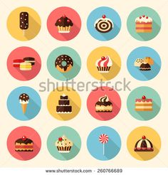 sweets, pastry, chocolate, cake, cupcake, ice cream, macaroon, donut, lollipop. flat design icons set. template elements for web and mobile applications