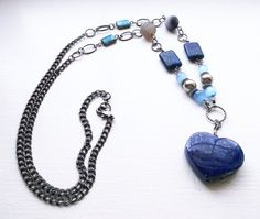 Mother's Day // Lapis Lazuli Heart Pendant and Chain Necklace // Agate and Lapis Lazuli Necklace // Gunmetal Necklace // Long Boho Necklace by SuDanDesign on Etsy