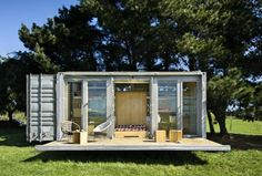 container home with porch