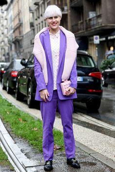 #LindaTol popping pink & purple in Milan. #LifestyleHunters