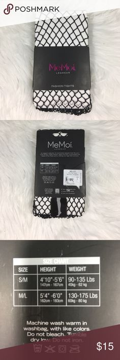 NWT Fishnet Fashion Tights Brand new and never opened or worn! For sizing please check 3rd picture. It is a size small/medium. 93% nylon and 7% spandex. No tears or stains. No trades and no holds. MeMoi Legwear Accessories Hosiery & Socks