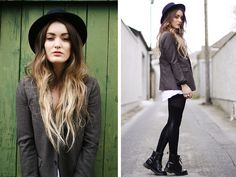 (by Anouska Proetta Brandon) - The Kooples Hat, The Kooples Blazer, Black Milk Clothing Leggings, Dr. Fashion Mode, Look Fashion, Fashion Hats, Blazer Fashion, Dr. Martens, Cabelo Ombre Hair, Martens Style, Pret A Porter Feminin, Black Milk Clothing