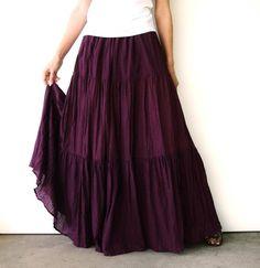 NO.5 Reddish-Purple Cotton Gauze, Hippie Gypsy Boho Tiered Long Peasant Skirt - Reddish-Purple Cotton, Hippie Gypsy Boho Tiered Long Peasant Skirt