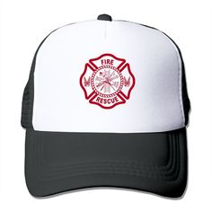 """Adult Fire Rescue Logo The Adjustable Snapback Mesh Hat. 100% Nylon Mesh Back Keeps You Cool. 100% Polyester Foam Front. Hand Washing Only. Adjustable From 17"""" To 24"""". Customized Pattern Design,Perfect As A Gift,High Quality And Environmentally Friendly Printed."""