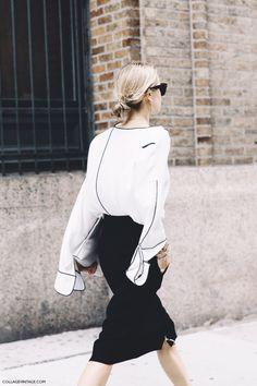 New York Fashion Week Spring Summer 2016 Street Style Lacoste Look De Pernille Black And White Fashion Gone Rouge, Fashion Mode, Womens Fashion, Classy Fashion, Fashion Shoes, Vintage Fashion, Fashion Dresses, Net Fashion, Fashion Black