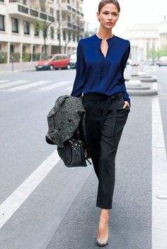 Royal Blue Shirt and Black Skinny Pants