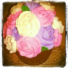 Giant Chocolate Cupcake filled with Nutella Buttercream set in a Chocolate Mold and topped with Buttercream Roses!