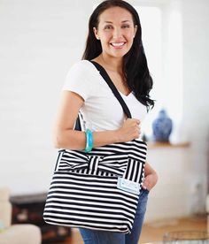 OPAL™ Striped Tote with Bow - HUSQVARNA VIKING®