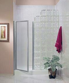 The standard fit glass block shower kit is the newest design in the Pittsburgh Corning line up of beautiful glass block shower kits. Bathroom Renovations, Home Remodeling, Glass Blocks Wall, Block Wall, Glass Block Shower, Ideas Baños, Tile Ideas, Decor Ideas, Showers Without Doors