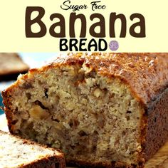 This recipe for Sugar Free Banana Bread is really delicious. The best Sugar Free Banana Bread Recipe For Sugar Free Banana Bread, Diabetic Banana Bread, Low Sugar Banana Bread, Sugar Free Bread, Sugar Free Baking, Sugar Free Recipes, Banana Bread Recipes, Sugarless Bread Recipe, Health Desserts
