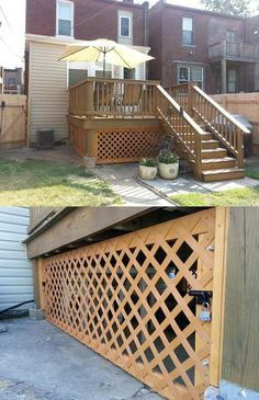 Under Deck Lattice with a removable panel and locks.  Hides the ugly under the deck, and creates a secure storage place for patio furniture and yard supplies.