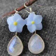 #Lampwork #Earrings #Flower #Floral #Glass #JewelryBeadsByKatie #Artisan #Handmade #Jewelry #moonstone