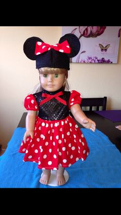 """18"""" Doll Clothes for American Girl Doll - Red Minnie Costume with Mouse Ears Hat"""