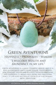 Crystal Healing Stones, Crystal Magic, Crystal Grid, Stones And Crystals, Gem Stones, Chakra Crystals, Crystal Meanings, Minerals And Gemstones, Green Aventurine