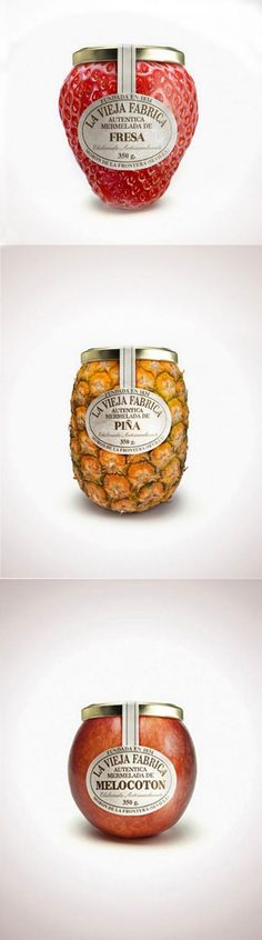 These Fruit Shaped Jam containers are really attractive. Just wondering about the cost to produce the unusual shapes and textures and the fact that they are not a uniform size for packing and shipping. Fruit Packaging, Food Packaging Design, Bottle Packaging, Pretty Packaging, Packaging Design Inspiration, Brand Packaging, Food Inspiration, Innovative Packaging, Bottle Design