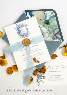 More pretty blue wedding invitation to match your wedding color them #EWI #weddinginvitations