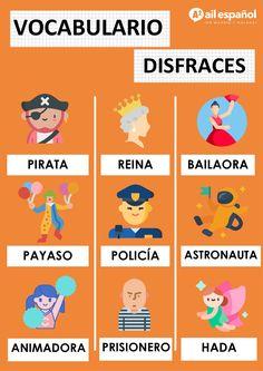 ¡Hoy 21 de febrero empieza el fantástico carnaval de Málaga! 🥳🤩😎 ¿Estáis listos? 🕺Os dejamos una foto de vocabulario de disfraces, para ayudaros a decidir vuestro disfraz 😏😉 ¡Qué disfrutéis! 🇪🇸💖