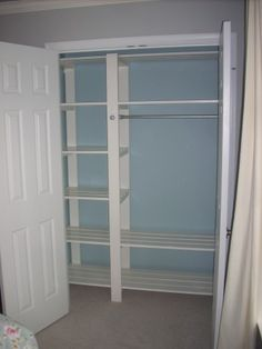 Inexpensive DIY closet shelving slatted shelves so clothes can breathe