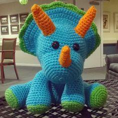 Crochet dinosaur amigurumi triceratops