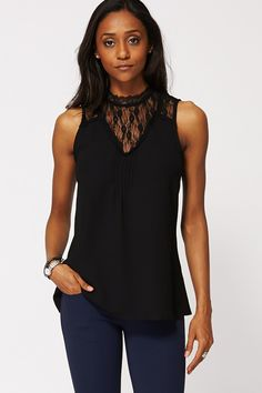 Ladies Black chiffon and lace detail going out party top