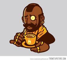 Mr T drinking tea