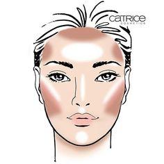42 Trendy makeup face charts tutorials how to contour Catrice Makeup, Red Lipstick Makeup, Contour Makeup, Face Makeup, Contouring Oval Face, Contouring And Highlighting, Oval Face Shapes, Oval Faces, Face Shape Chart